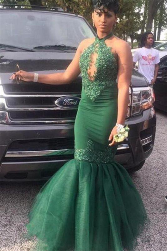 Dark Green Halter Appliques Mermaid Evening Gowns | Elegant Keyhole Sleeveless Tulle Prom Dresses