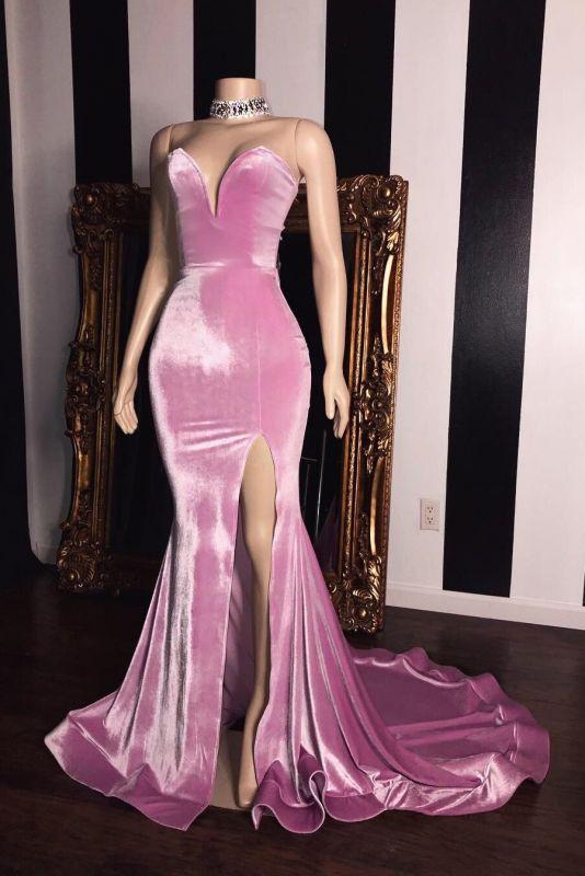Pink Velvet Sweetheart Long Prom Dresses Cheap | Elegant Side Slit Mermaid Evening Gowns
