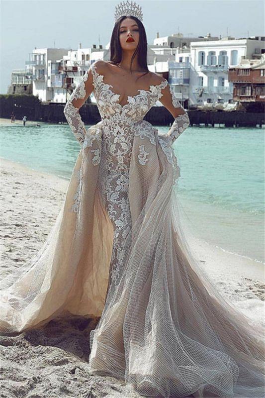 Glamorous V-Neck Long Sleeves Tulle Applique Wedding Dresses with Overskirt