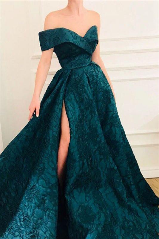 CHeap A-Line Off The Shoulder Lace Evening Dresses