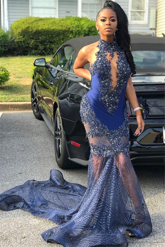 Cheap Mermaid Sleeveless High Neck Applique Prom Dresses