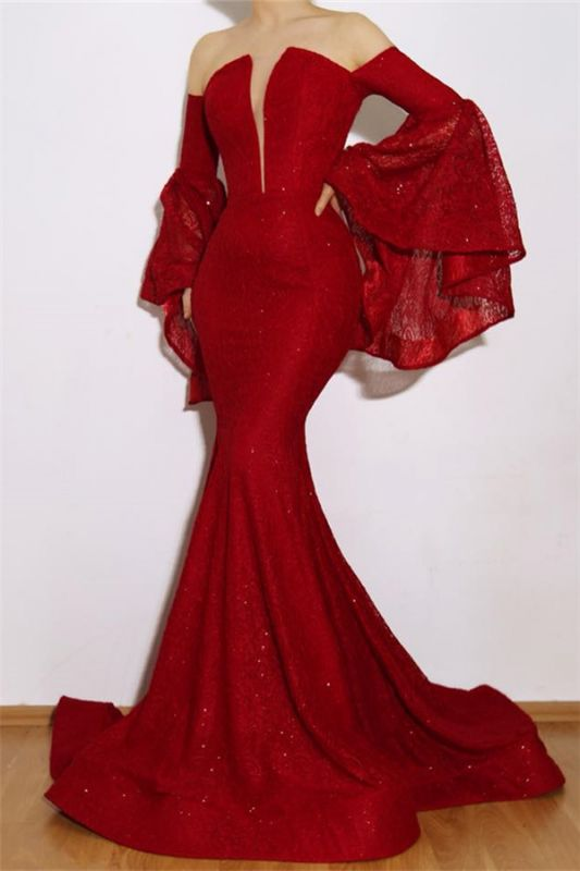 New Arrival Red Mermaid Off The Shoulder Lace Appliques Prom Dresses