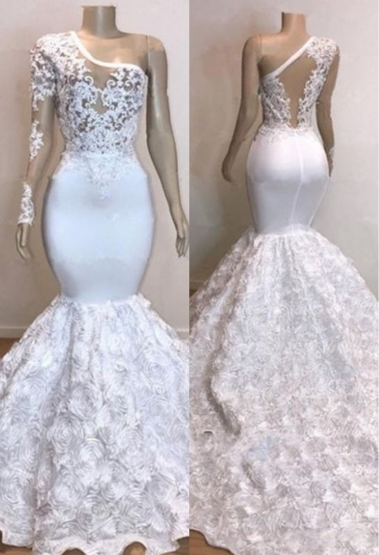 One Shoulder Lace Appliques Meramid Long Prom Dresses Cheap with sleeves