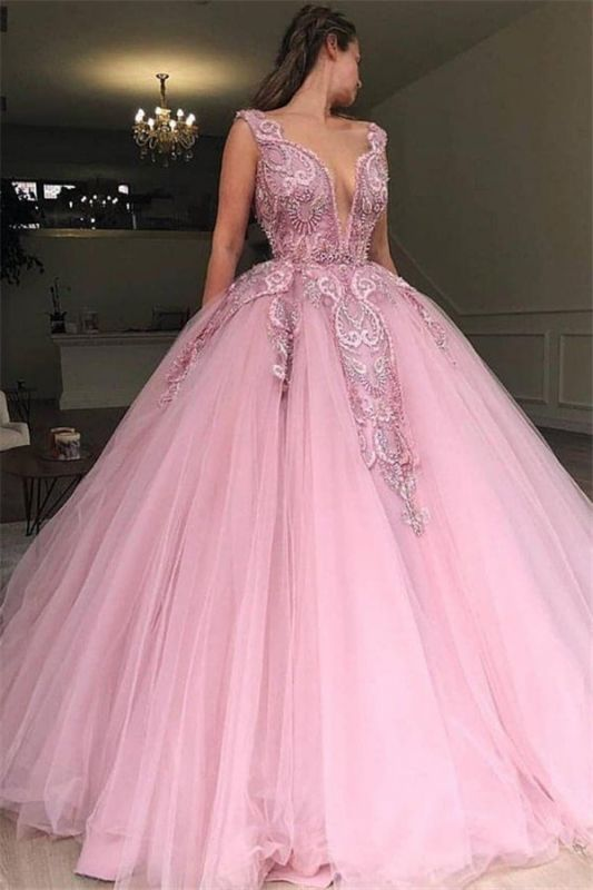 Pink Ball Gown V-Neck Applique Tulle Sleeveless Prom Dersses