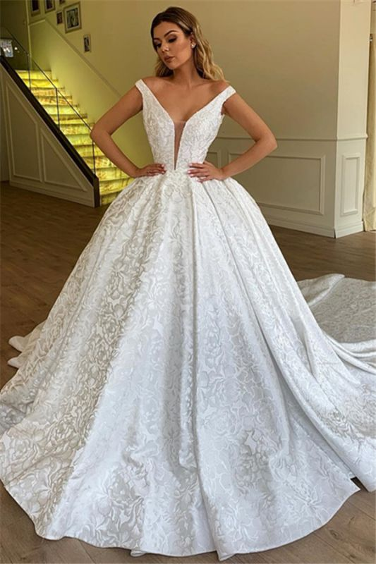 Off The Shoulder Printed Fabric Bridal Gowns | New Arrival Ball Gown Cheap Wedding Dresses
