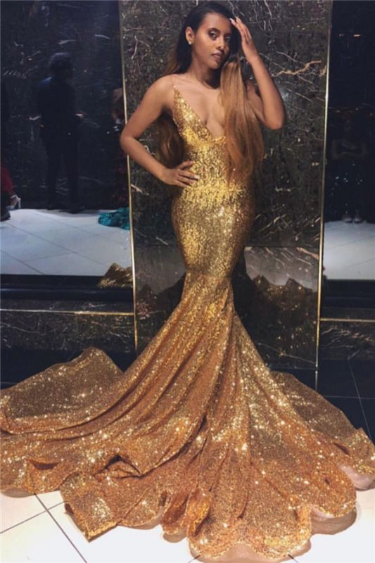 Newest Gold Mermaid Spaghetti Straps V-Neck Sleeveless Sequins Prom Dresses