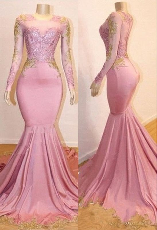 Pink Appliques Long Sleeve Long Prom Dresses Cheap | New Arrival Gorgeous Mermaid Evening Gowns