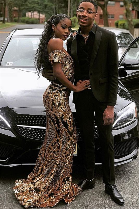 Glamourous Sheath Off The Shoulder Gold Applique Prom Dresses