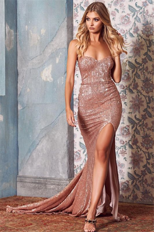 Sexy Sequins Side-Slit Long Prom Dresses | 2020 Sweetheart Mermaid Evening Dresses