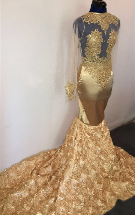 Champagne Mermaid Long Sleeve Flowers Appliques Long Prom Dresses Cheap