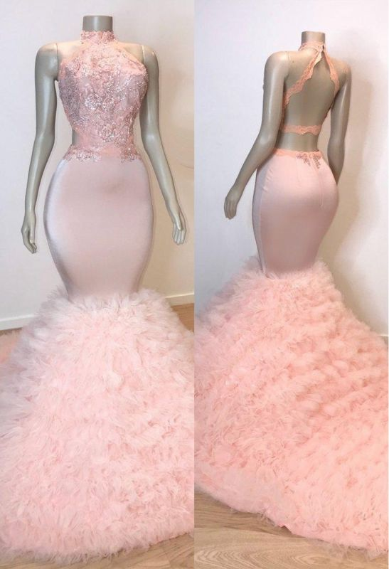 Pink Halter Sleeveless Mermaid Long Prom Dresses Cheap | New Arrival Chic Open Back Lace Tulle Evening Gowns
