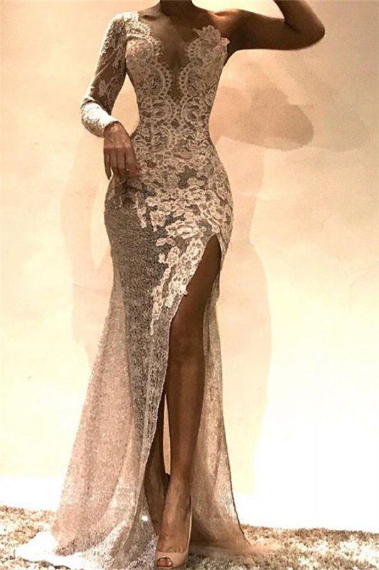 Newest Sheath One-Shoulder Side Slit Lace Prom Dresses