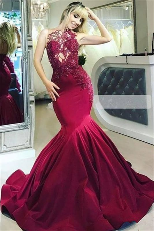 Burgundy Gorgeous Sheer Straps Applique Mermaid Prom Dresses