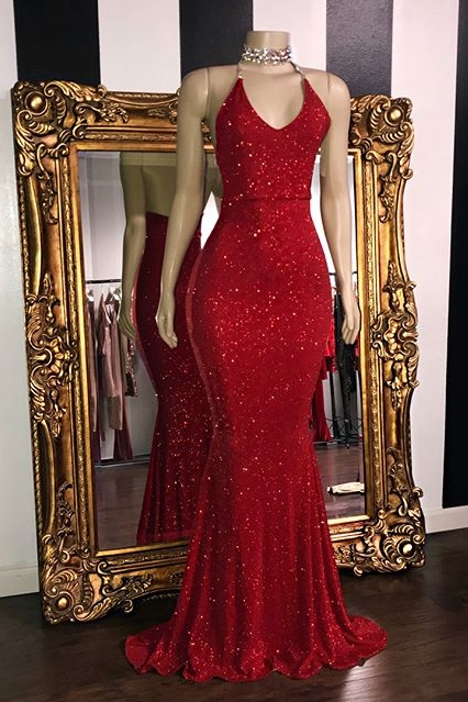 Sequins Sleeveless Mermaid Long Prom Dresses Cheap | Glitter New Arrival Halter Red Evening Gowns