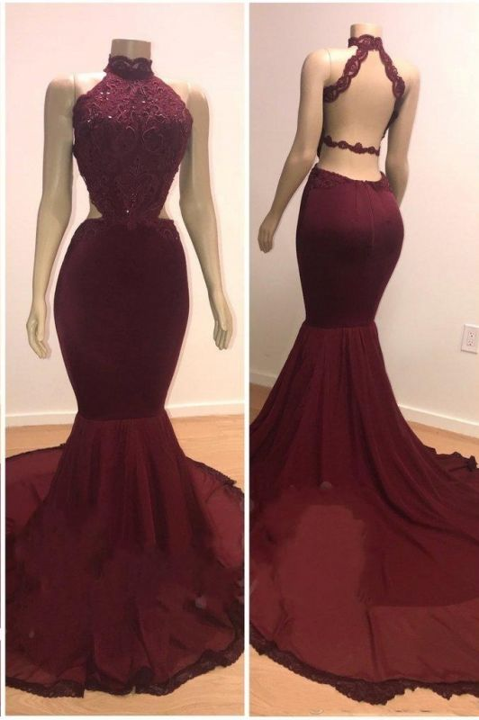Lace Top High Neck Evening Gowns | Mermaid Burgundy Long Prom Dresses Cheap