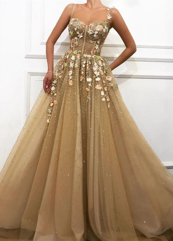 Glamorous A-line Spaghetti Straps Flower Wedding Dresses