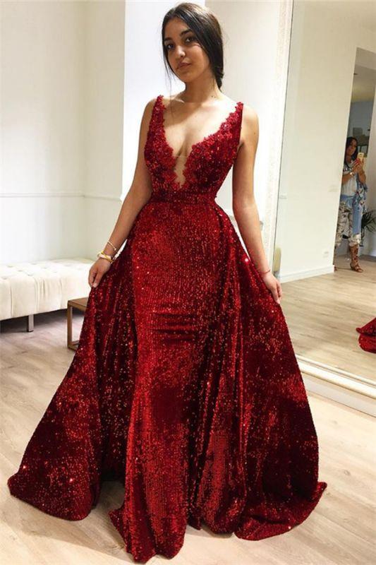 Burgundy A-Line Sleeveless Sequins Glamorous Evening Dresses BC1514