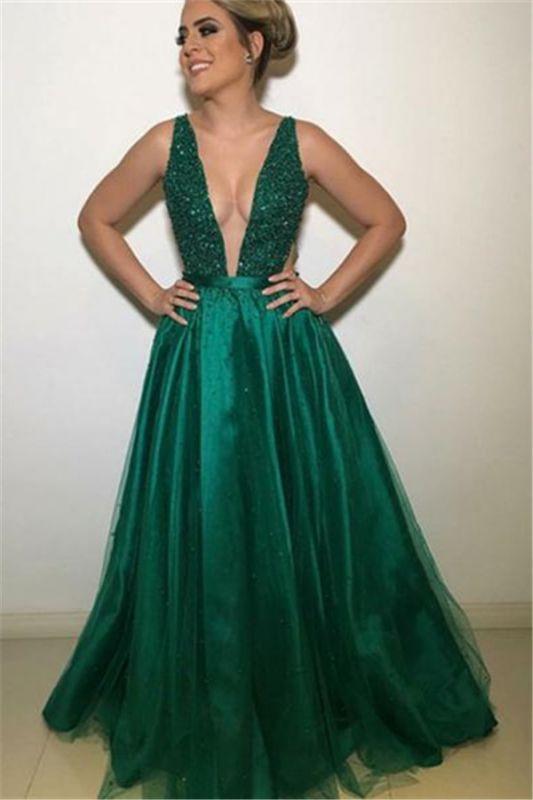 Gormeous V-Neck Sleeveless A-Line Tulle Beading Prom Dresses