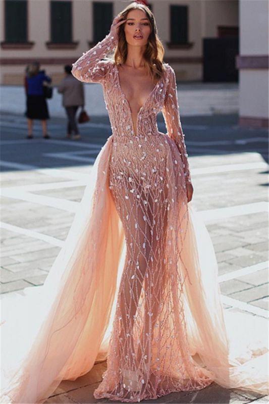 Glamorous Pink Mermaid Deep V-Neck Long Sleeves Crystal Prom Dresses With Detachable Skirt