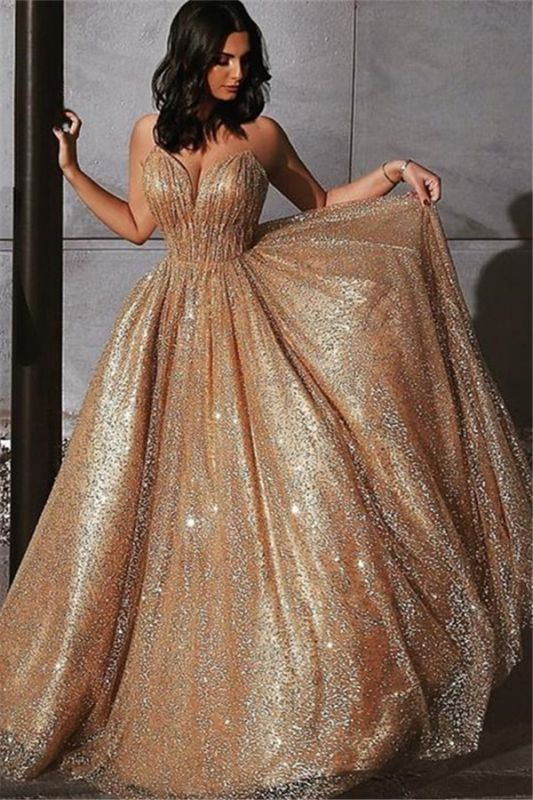 Champagne Elgant A-line Spaghetti Straps Backless Sequins Prom Dresses