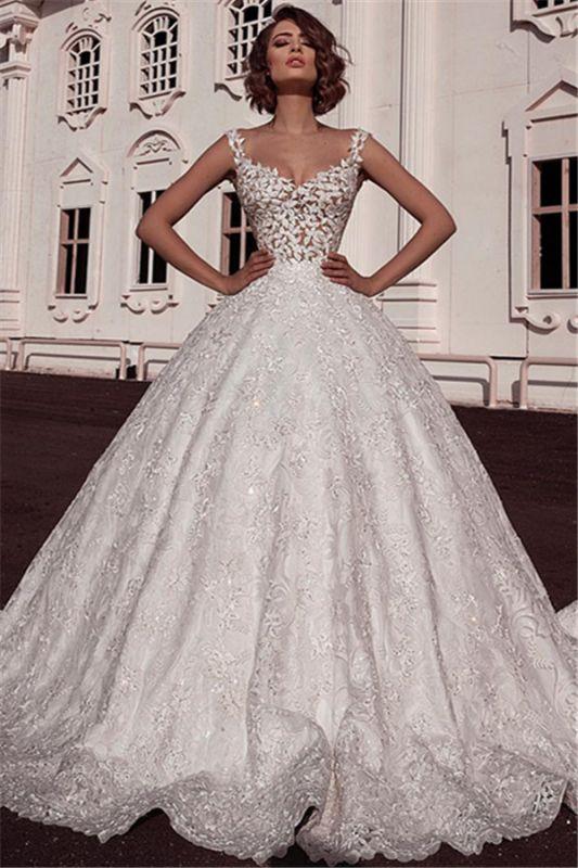 Glamorous Ball Gown Spaghetti Straps Sleeveless Lace Applique Wedding Dresses