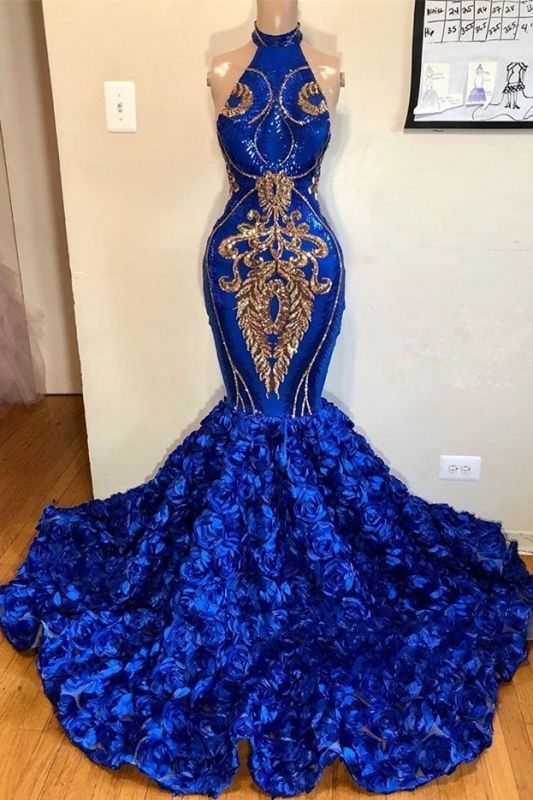 New Arrival Royal Blue Halter Mermaid Long Prom Dresses Cheap | Gorgeous Sleeveless Flowers Evening Gowns