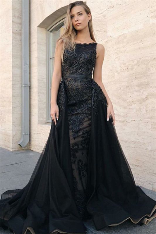 Sexy Sexy Mermaid Sleeveless Evening Gowns | Black Appliques Lace Overskirt Prom Dresses New Arrival