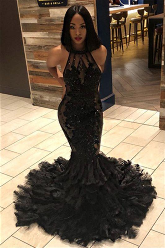 Black Mermaid Halter Sleeveless Open Back Applique Prom Dresses