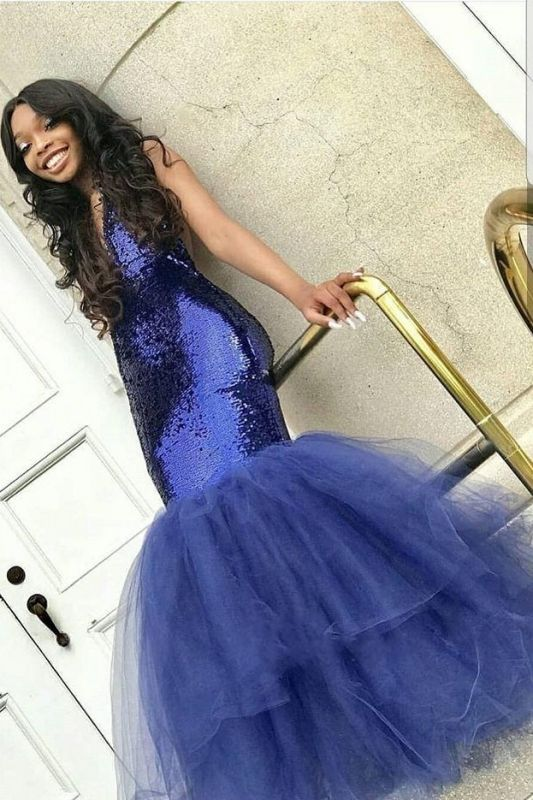 Sexy Navy Blue Mermaid Sequins Prom Dresses | Cheap Tulle Sleeveless V-Neck Evening Dresses