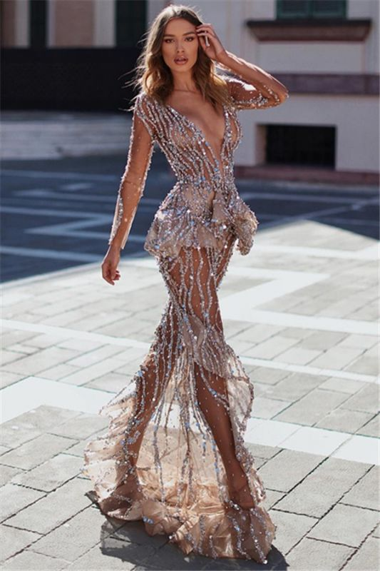 Sexy Mermaid V-Neck Long Sleeves Sheer Tulle Crystal Applique Prom Dresses