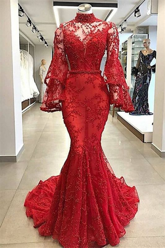 Gorgeous Red High Neck Sheer Tulle Long Sleeve Beads Mermaid Long Prom Dresses Cheap