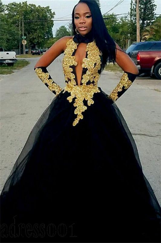 Chic Gold Appliques Ball Gown Prom Dresses   Elegant Black Halter Tulle Evening Gowns