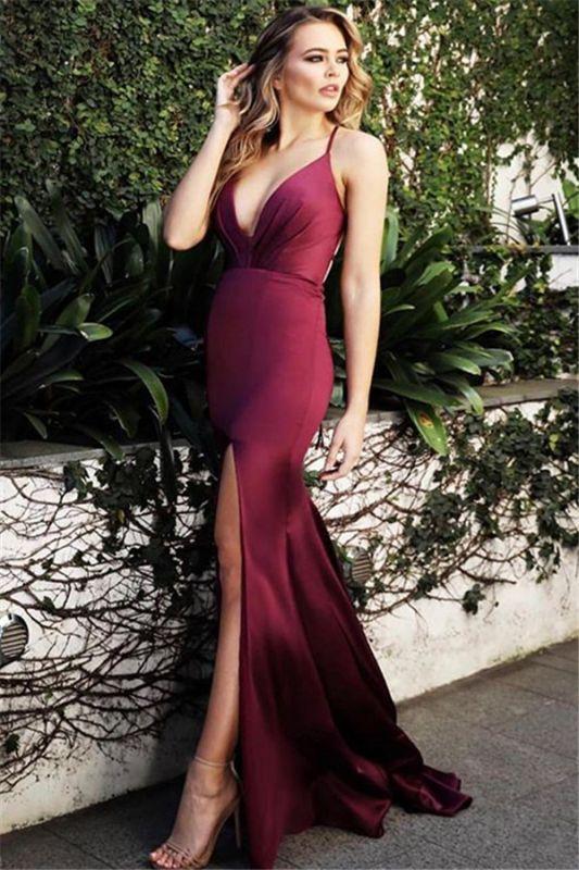 Burgundy Spaghetti-Straps V-Neck Evening Dress   Cheap Side-Slit Sleeveless Sheath Prom Dresses