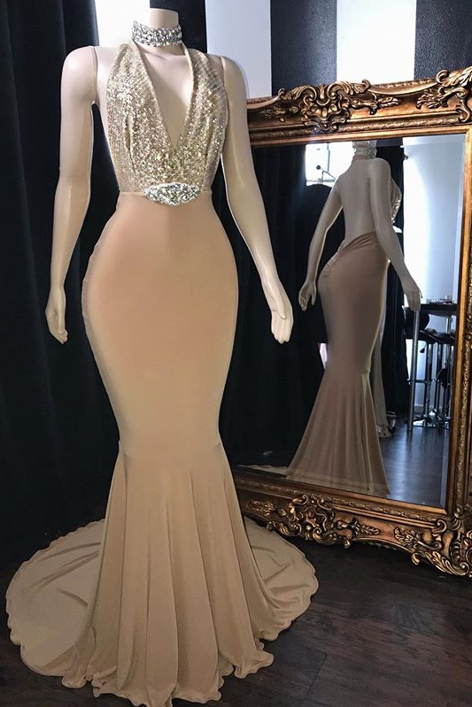 Champagne Crystal Halter Mermaid Long Prom Dresses Cheap | V-Neck Sleeveless Evening Gowns