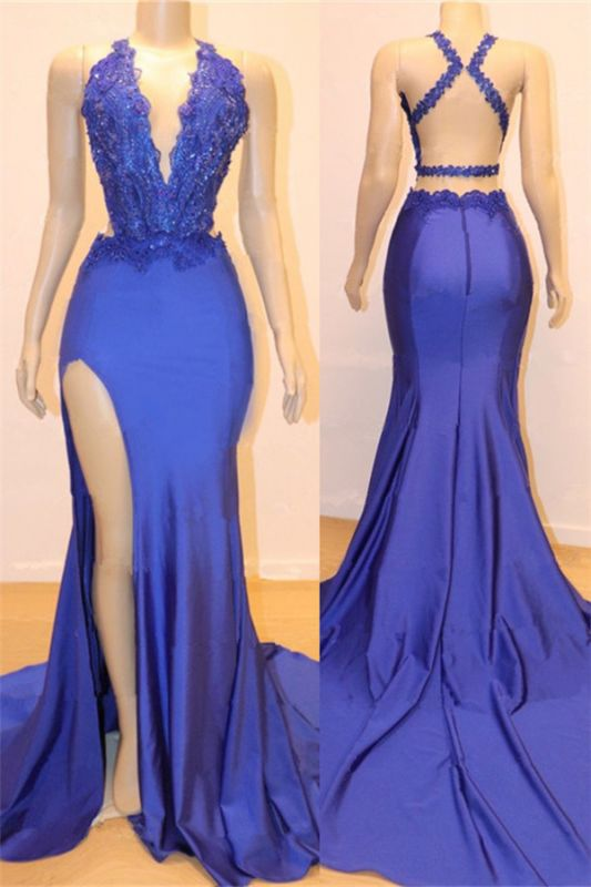 V-neck Open back Side Slit Long Prom Dresses Cheap | Elegant Royal Blue Mermaid Beads Lace Evening Gowns