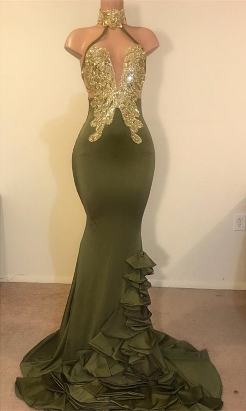 Sheath High Neck Ruffles Gold Beads Sequins Prom Dresses Cheap with Appliques