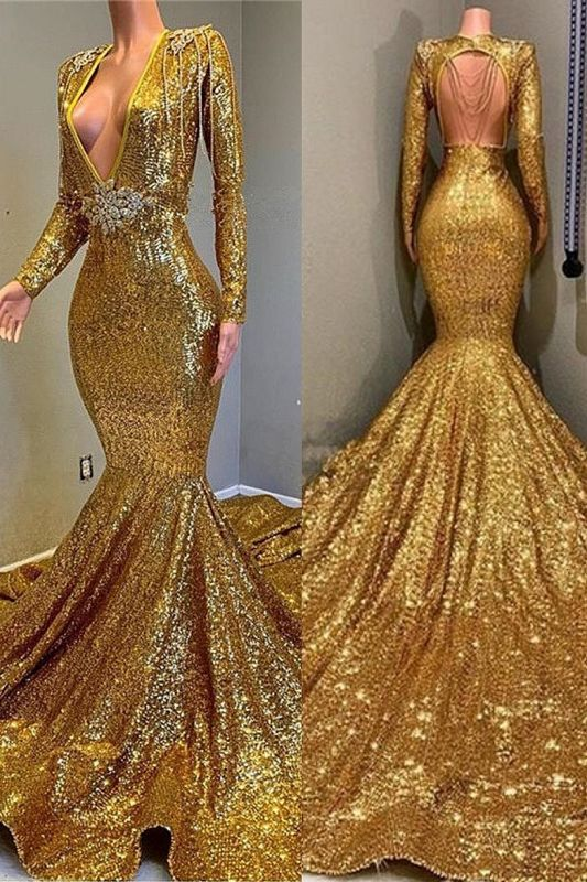 Gorgeous Mermaid Sequins Long Sleeve Floor Length Long Prom Dresses Cheap