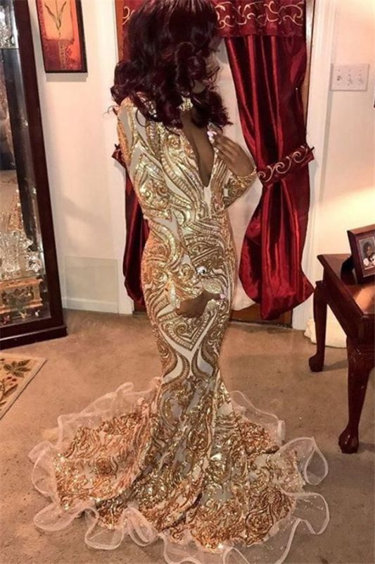 Glamorous Deep V-Neck Long Sleeves Gold Appliques Mermaid Prom Dresses