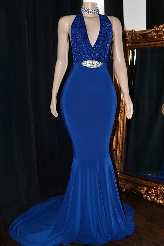 Sexy Halter Sleeveless Mermaid Prom Dresses | 2020 V-Neck Appliques Crystal Evening Gowns