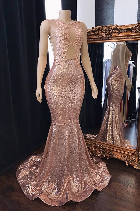Pink Sequins Appliques Mermaid Long Prom Dresses Cheap   New Arrival Sleeveless Sheer Tulle Evening Gowns
