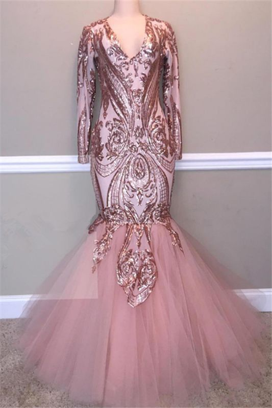 Glamorous Sequins A-Line Long Prom Gowns | 2020 Spaghetti Straps V-Neck Evening Dress