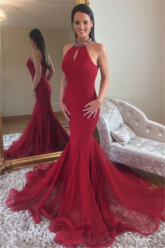 Glamorous Mermaid High Neck Sleeveless Crystal Prom Dresses