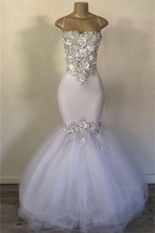 Mermaid Tulle Spaghetti Straps Flowers Appliques White Prom Dresses Cheap