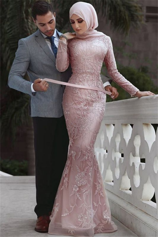 Pink Detachable Long-Sleeves Prom Dresses   Cheap Appliques Lace Sexy Mermaid Evening Gowns