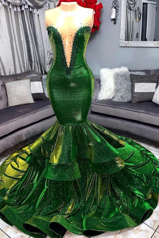 Green Gorgeous Ruffles Mermaid Prom Dresses | Sexy Sweetheart Appliques Long Evening Dresses