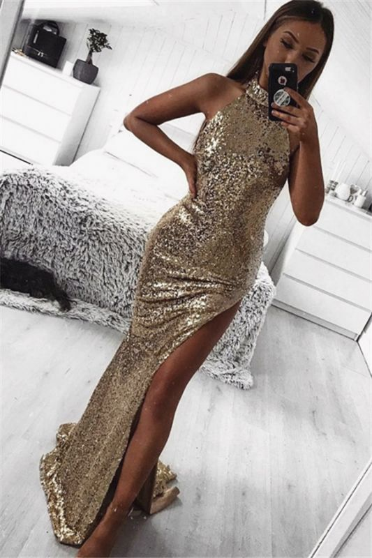 Gold Sheath Halter Sleeveless Side Slit Sequins Sexy Prom Dresses