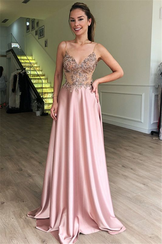 Gorgeous Spaghetti Straps Sleeveless Beaded Pink Prom Dresses