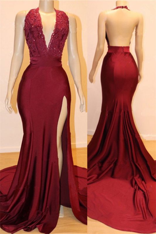 Open Back Burgundy Long Prom Dresses Cheap with Slit | V-neck Halter Affordable Evening Gowns with Court Train