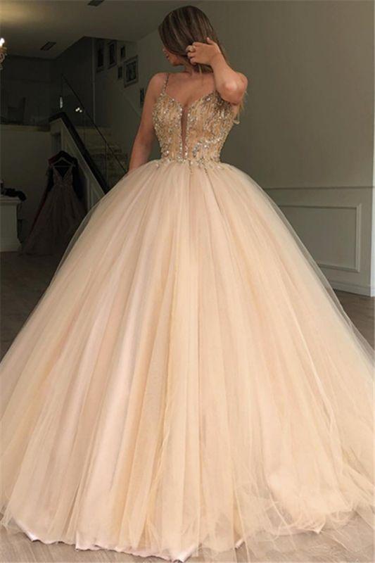 Glamorous Ball Gown Spaghetti Straps Sleeveless Beaded Champagne Wedding Dresses