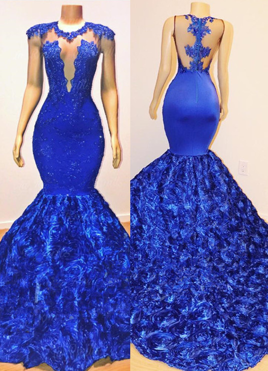Sexy Royal Blue Flowers Mermaid Prom Dresses | Appliques Sleeveless Sheer Evening Dress BC1059